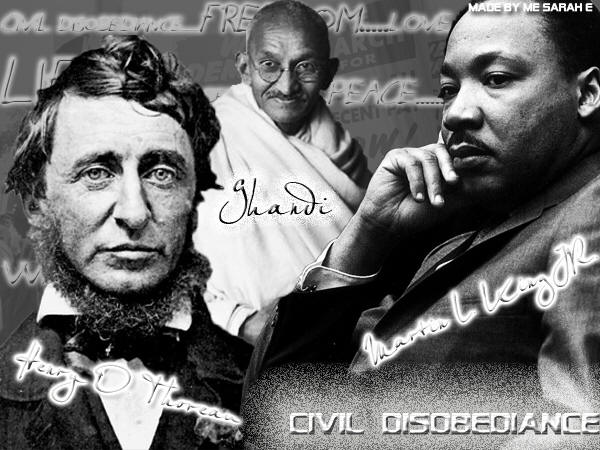 civil disobedience according to henry david thoreau and martin luther king jr Martin luther king always paid tribute to gandhi as one of the most important sources of his own values in 1959, dr king made a pilgrimage to india in 1959, dr king made a pilgrimage to india this lesson can enhance a discussion of the civil rights movement in the united states, and can be used as a start of a student research-based project on.