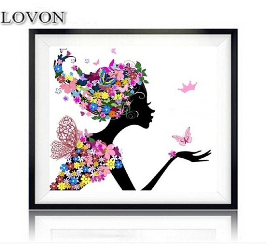 Картинки девушка цветы бабочки вектор