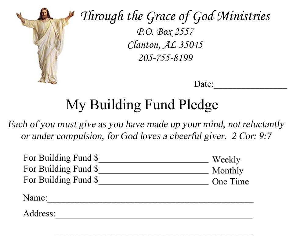 donation pledge card template