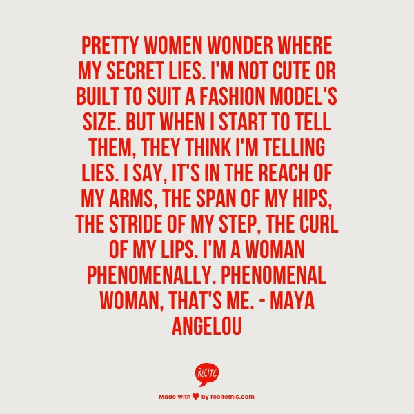 Quotes About Phenomenal Woman 60 Quotes Gorgeous Phenomenal Woman Quotes