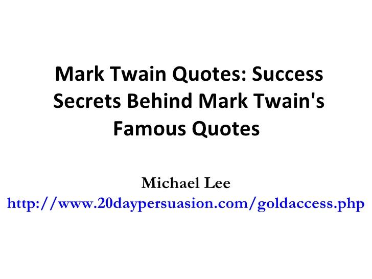 advice to youth by mark twain