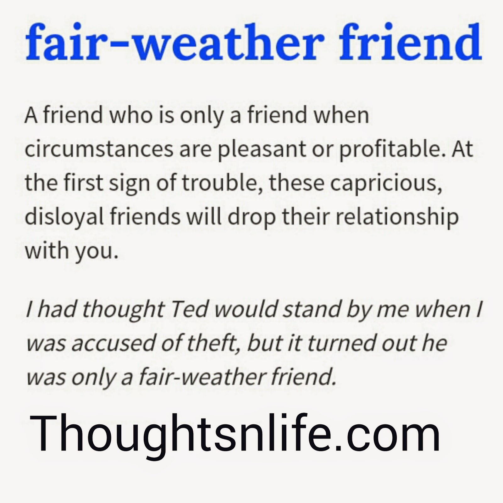 How to Handle a Fair Weather Friendship