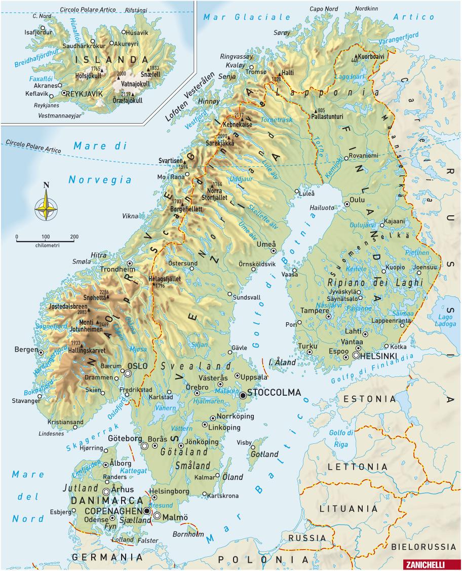 Cartina Fisico Politica Norvegia.Svezia Europa