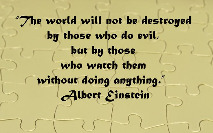 Image result for The world will not be destroyed by those who do evil, but by those who watch them without doing anything. Albert Einstein image