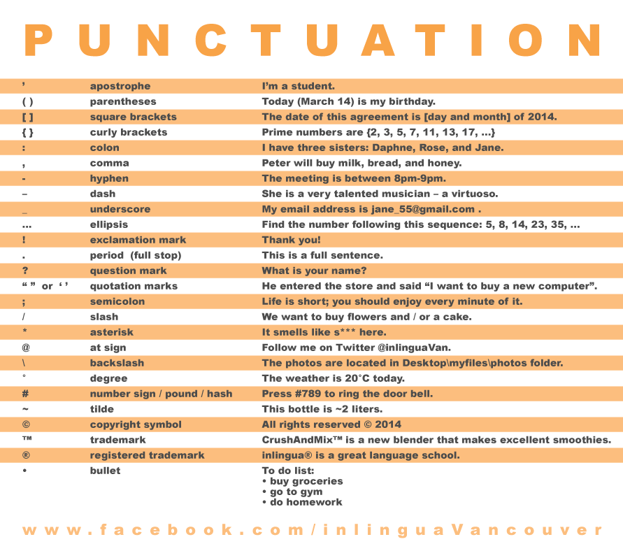 example of punctuation lesson Learn how to use punctuation marks correctly in english with examples the following lesson looks at the most common punctuation marks used in english.