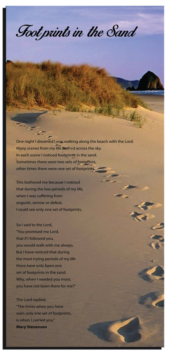 It is a graphic of Poem Footprints in the Sand Printable with funeral