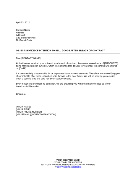 Http://pinstake.com/sample Letter 15a Breach Of Contract Show Cause Notice Doc  ...