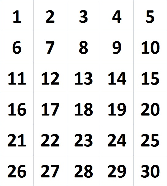 Influential image throughout printable numbers 1-30