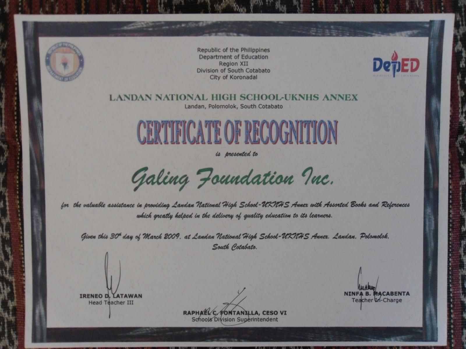 Templates for certificates of recognition image collections templates for certificates of recognition image collections sample certificate recognition brigada eskwela image collections certificate of yadclub Gallery