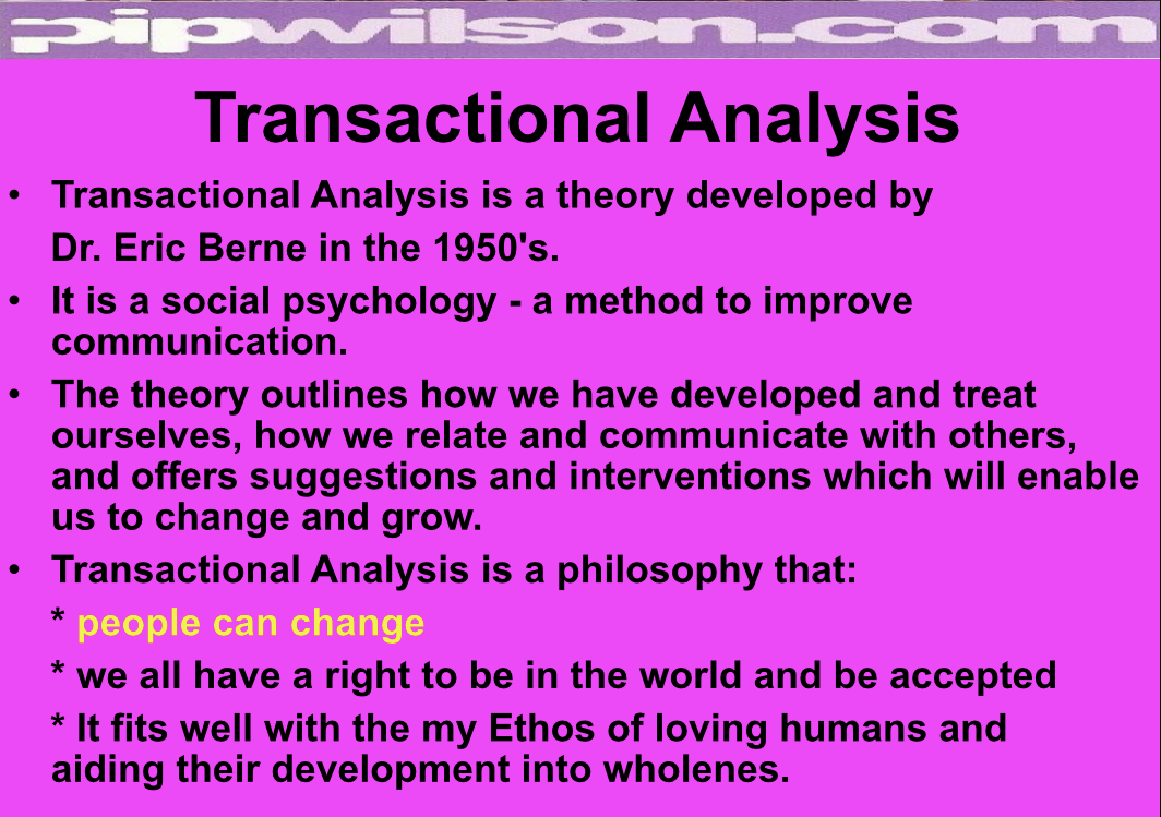 underlying philosophy of transactional analysis essay Cbt is based on stoic philosophy  • transactional analysis what is transactional analysis the counselor and transactional analysis ta and educational psychology  c201: introduction to counseling course outline page | 5 what is a genogram.
