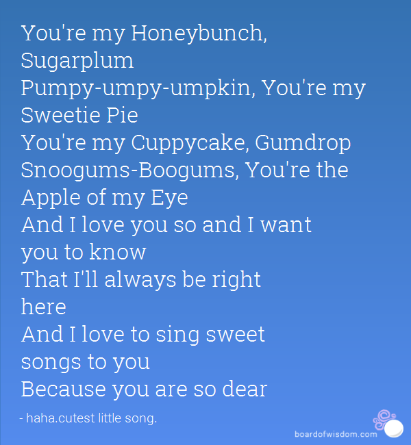 Madison : Ur my honeybunch sugarplum pumpy umpy umpkin lyrics