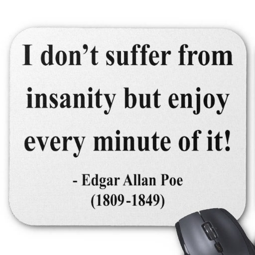 quotes about allan poe quotes  i don t suffer from insanity but enjoy every minute of it edgar allan poe 1809 1849
