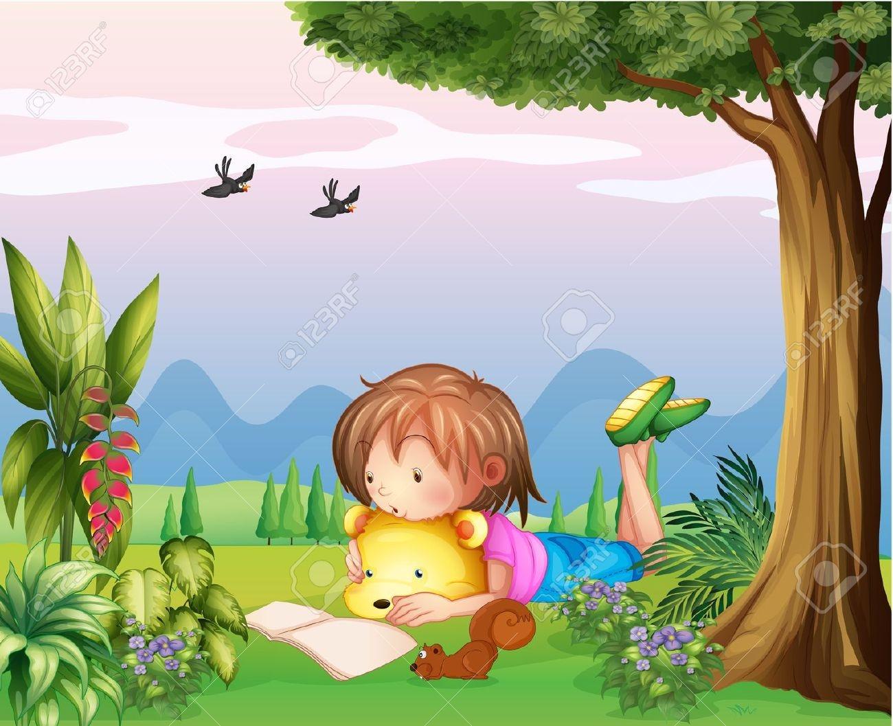 Illustration Kids Reading Under Tree Stock-Vektorgrafik (Lizenzfrei)  111744728