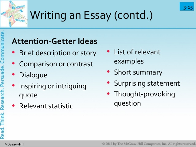 attention getter examples An attention getter, or a 'hook', is used to compel the reader's attention from the very moment he lays eyes on your essay and whatever you may think, attracting attention to yourself and your work isn't a bad idea.