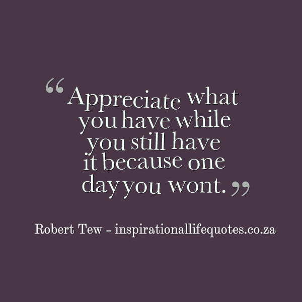 Quotes about Appreciate What You Have (86 quotes)