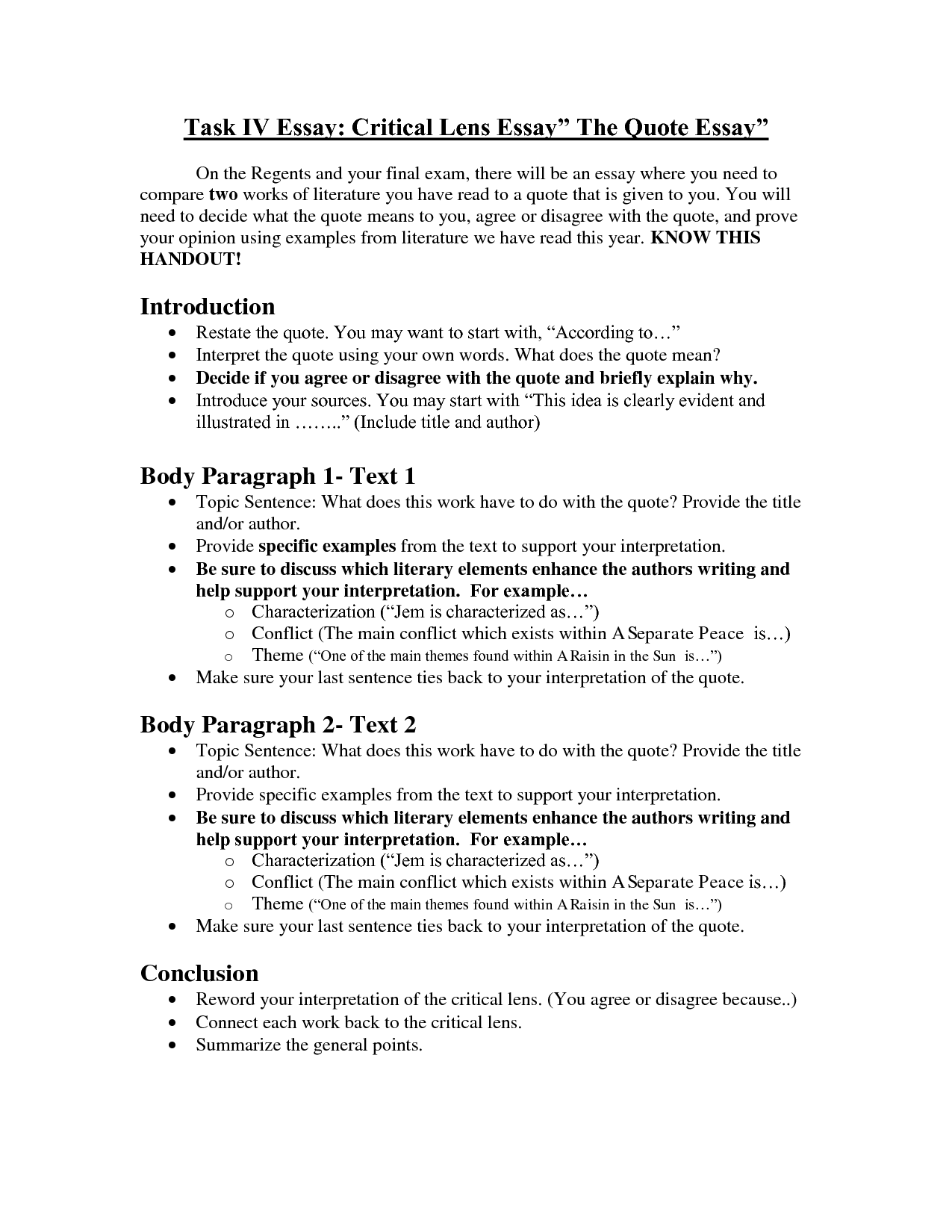 critical lense essay outline Critical approaches to literature plain text version of this document described below are nine common critical approaches to the literature.