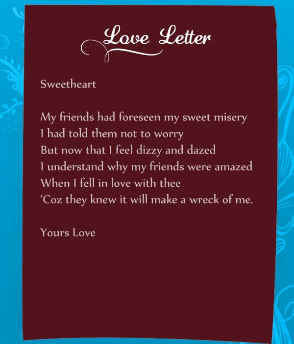 Love letter to lover in english