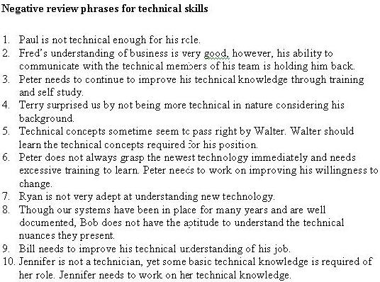 performance review phrases customer service