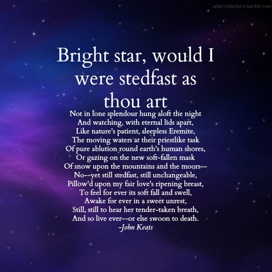 instant fame wealth and power in the poem bright star by john keats Find this pin and more on be inspired by mj76 i love keats yeats in a wealth of literature bright star by john keats first poem i ever memorized.