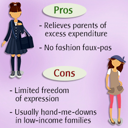 disadvantages of school uniforms essay Advantages and disadvantages of wearing uniforms essay sample at various schools all over the world, a lot of pupils are obligated to wear uniforms at some schools it is a duty connected with old tradition, at others decision about wearing them depends on principal or students' parents or even pupils do not have to wear them.