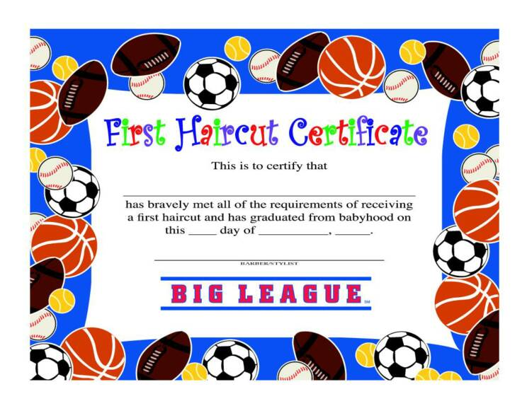 first haircut certificate free - Acur.lunamedia.co