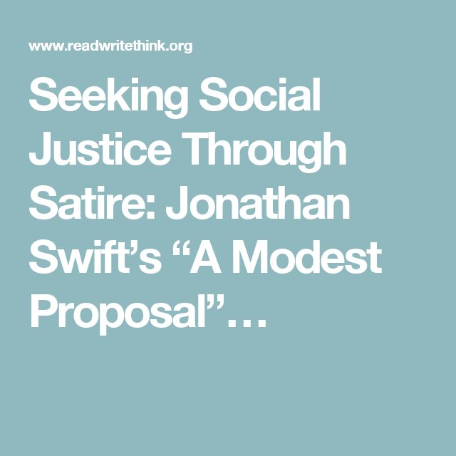 a comparison of the legendary satirical work of jonathan swifts a modest proposal Academiaedu is a platform for academics to share research papers.