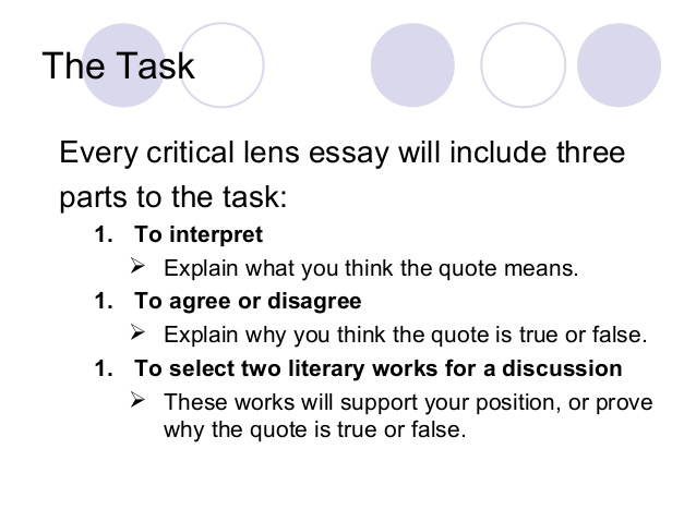 quotes for critical lens essays Steps to writing a critical lens essay critical lens: introduction 1 recopy the critical lens statement (the quote) word for word and leave it in quotation.