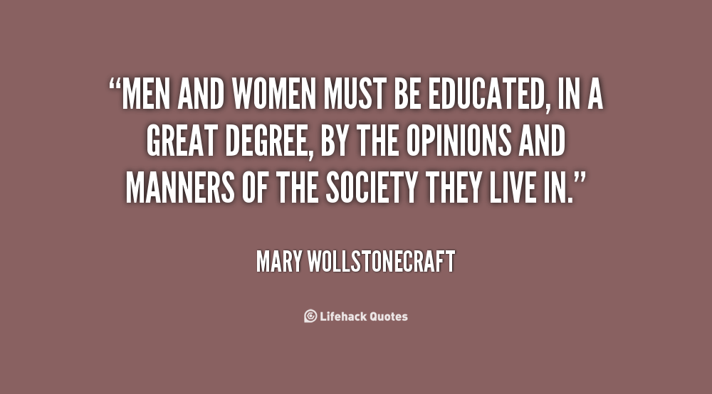 Image result for Mary Wollstonecraft quote of girls and education