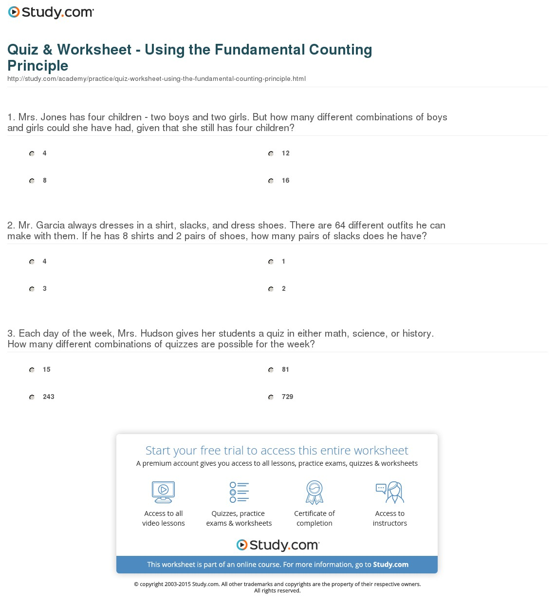 Quotes about Establishment clause (25 quotes) With Regard To Fundamental Counting Principle Worksheet