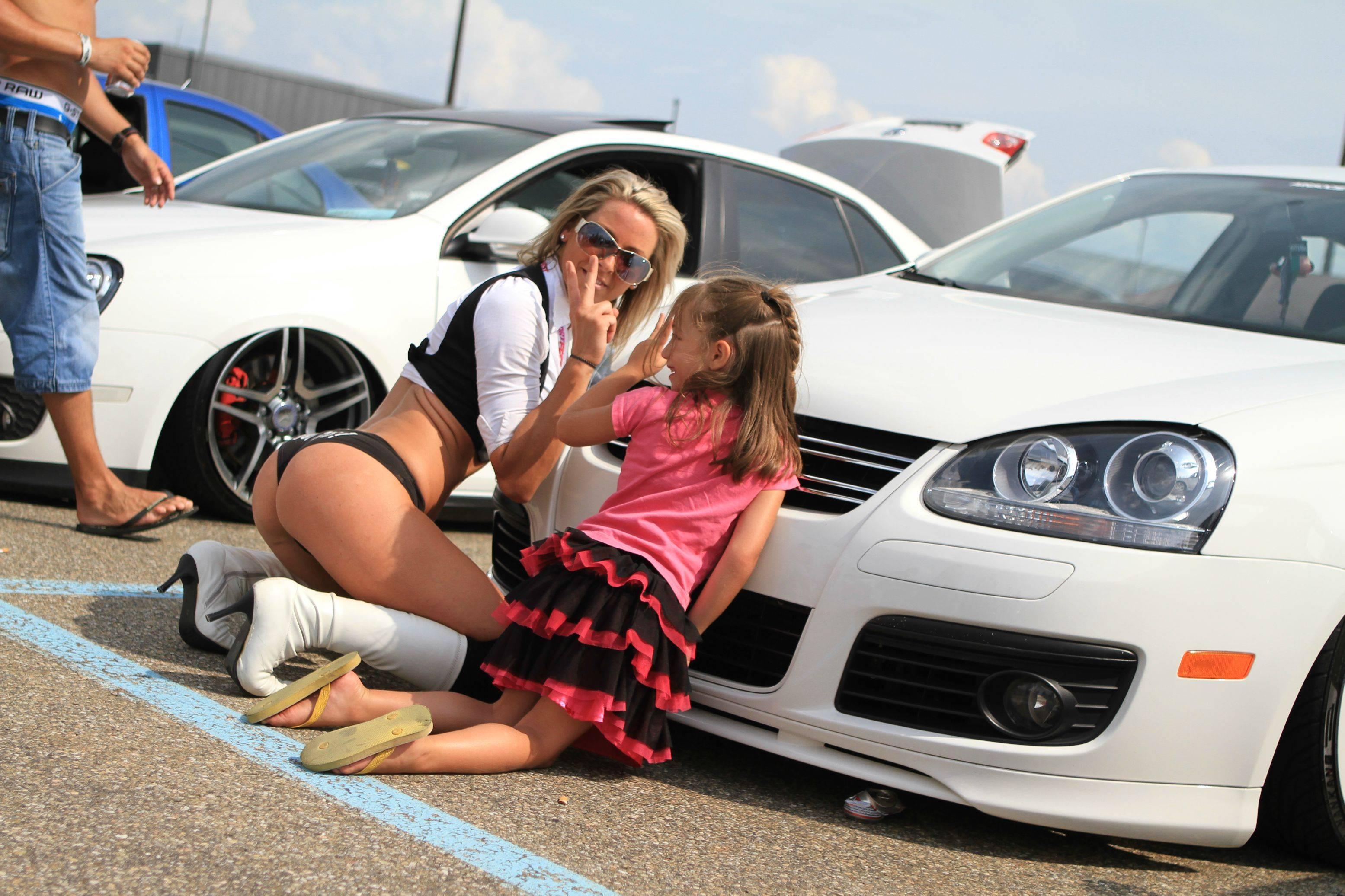 Girls strip dad