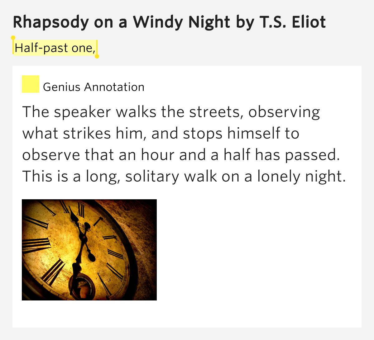 critical assessment ts eliot s poem rhapsody windy night