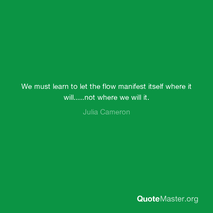 We must learn to let the flow manifest itself where it will