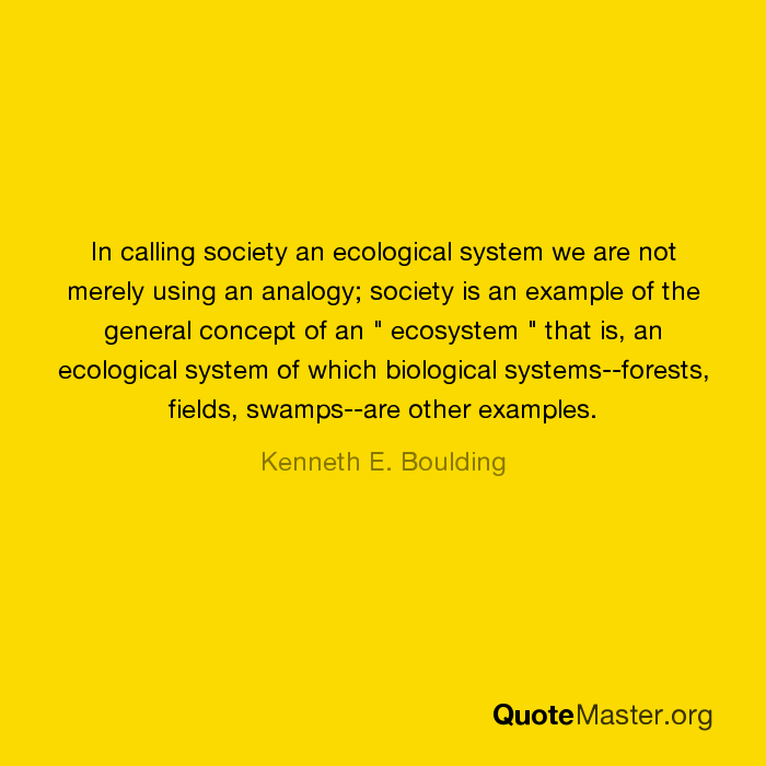 In Calling Society An Ecological System We Are Not Merely Using An