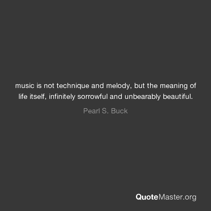 music is not technique and melody, but the meaning of life