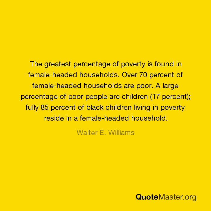 The greatest percentage of poverty is found in female-headed