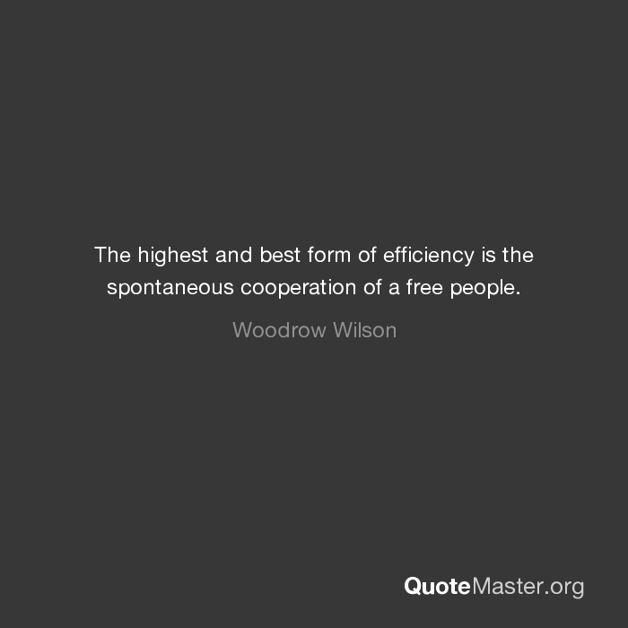 The highest and best form of efficiency is the spontaneous ...