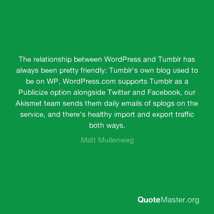 The relationship between WordPress and Tumblr has always