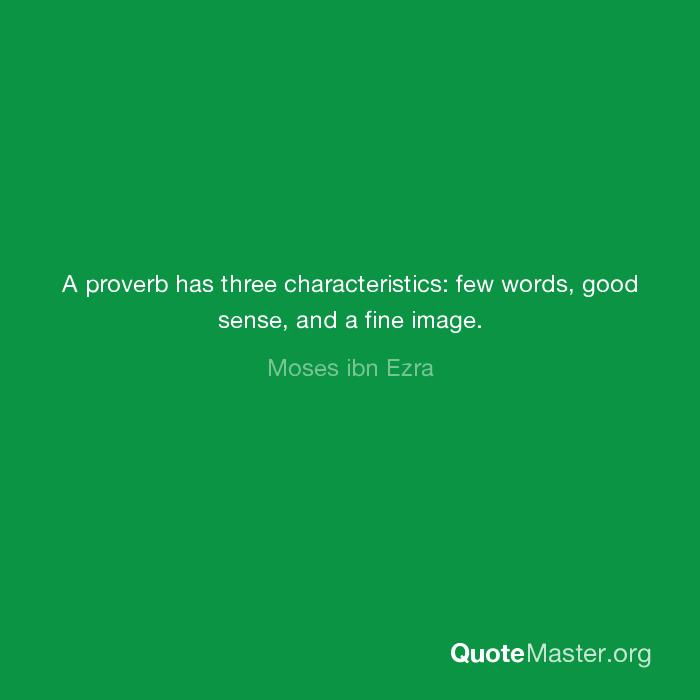 characteristics of a proverb