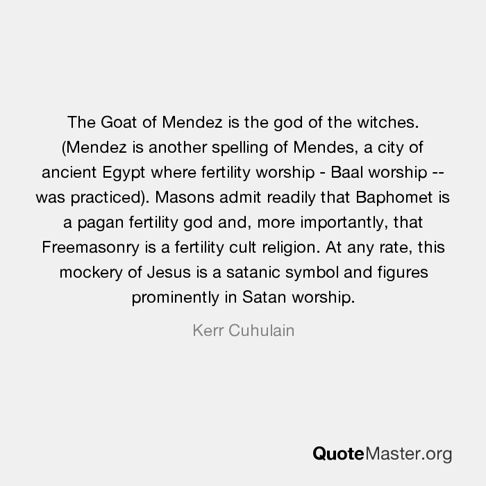 The Goat Of Mendez Is The God Of The Witches Mendez Is Another