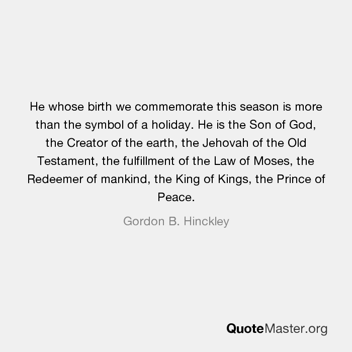 He Whose Birth We Commemorate This Season Is More Than The Symbol Of