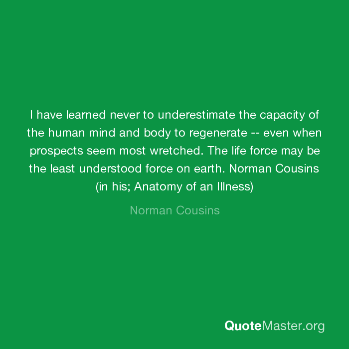 I have learned never to underestimate the capacity of the human mind ...