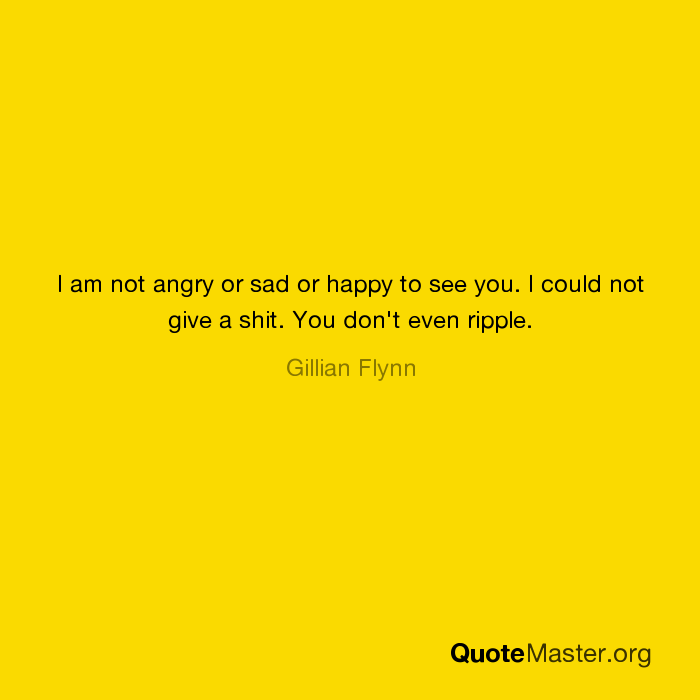 I am not angry or sad or happy to see you  I could not give a shit
