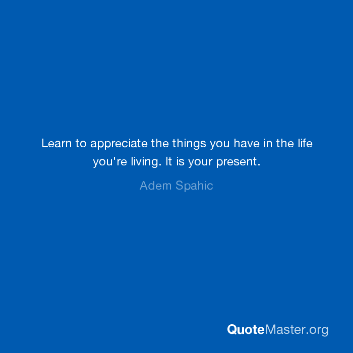 Learn To Appreciate The Things You Have In The Life You're