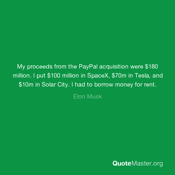 my proceeds from the paypal acquisition were 180 million i put
