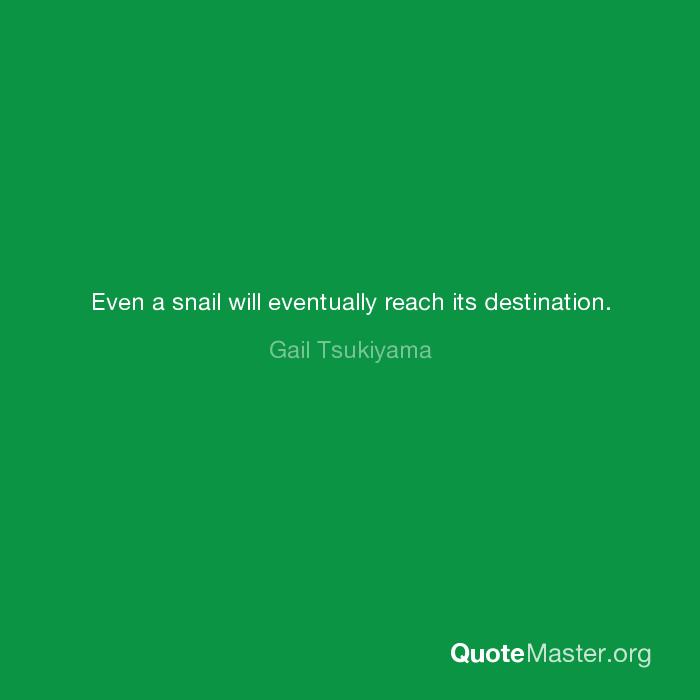 Even A Snail Will Eventually Reach Its Destination Gail Tsukiyama