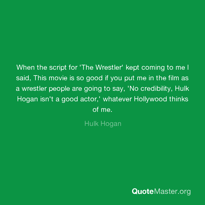 When the script for 'The Wrestler' kept coming to me I said, This