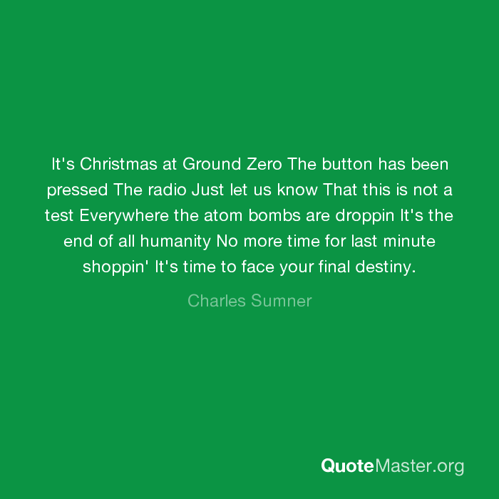 It's Christmas at Ground Zero The button has been pressed The ...